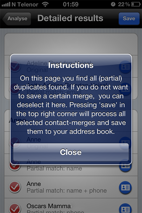 Cleanup Duplicate Contacts - Trinn 3 info