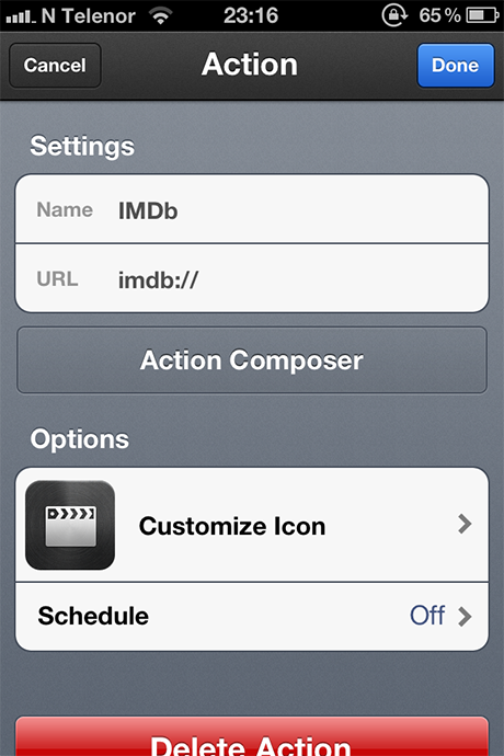 Launch Center Pro Action Settings