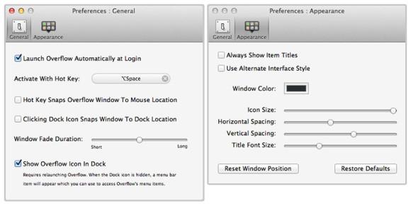 Overflow Mac innstillinger