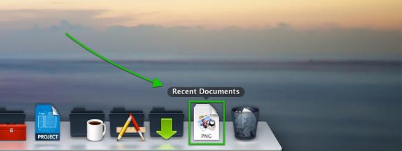 Dock - sist brukte dokumenter