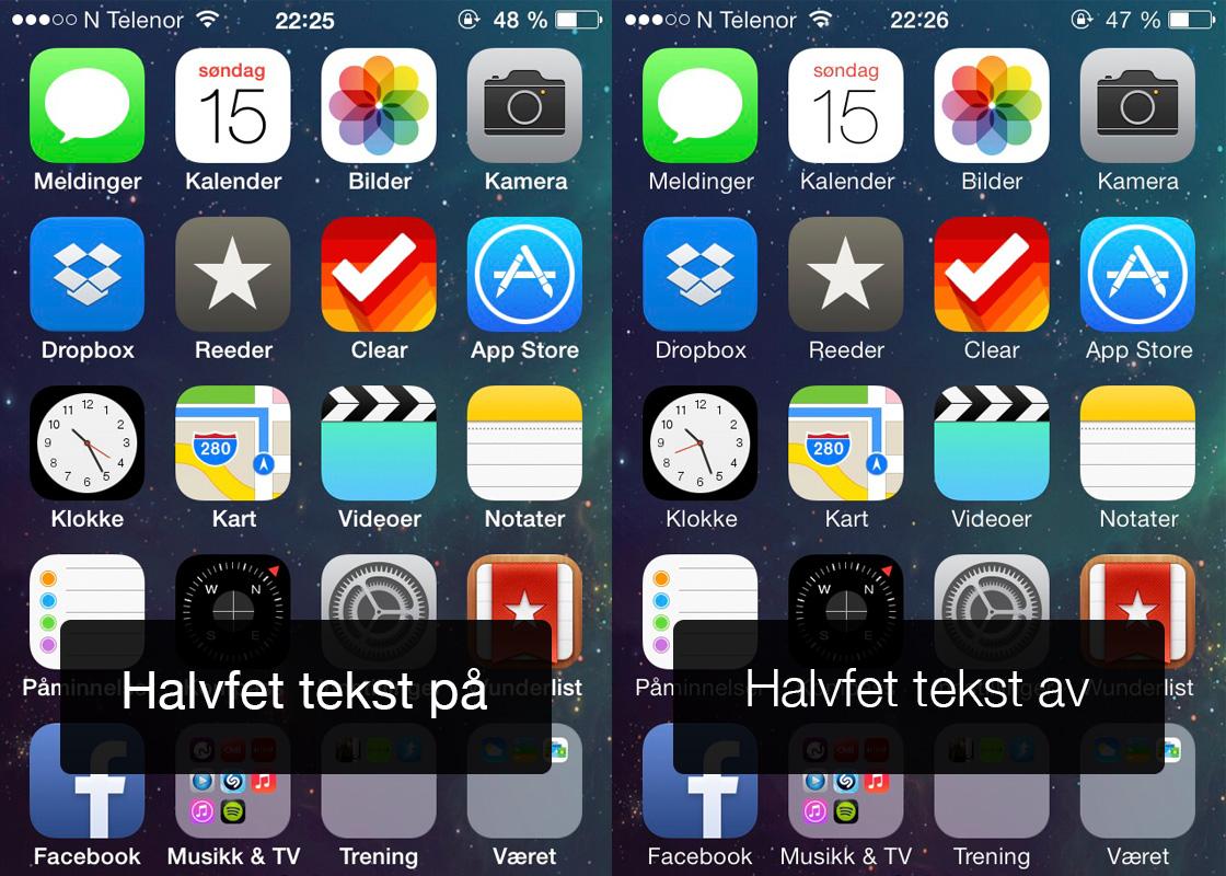 iOS 7 - halvfet tekst