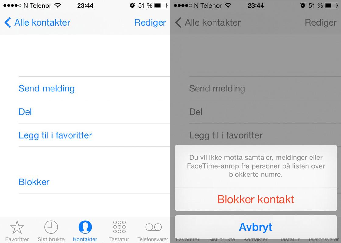 iOS 7 blokkere kontakt