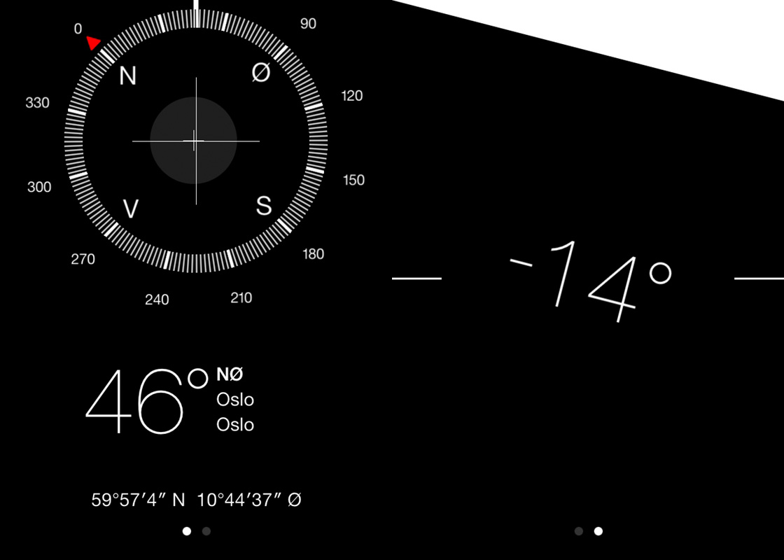 iOS 7 kompass og vater