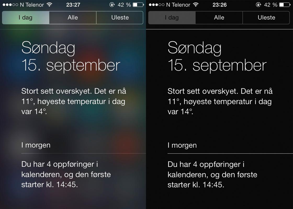 iOS 7 øk kontrast