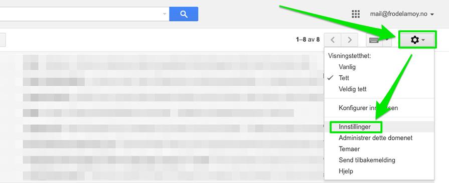 Gmail innstillinger
