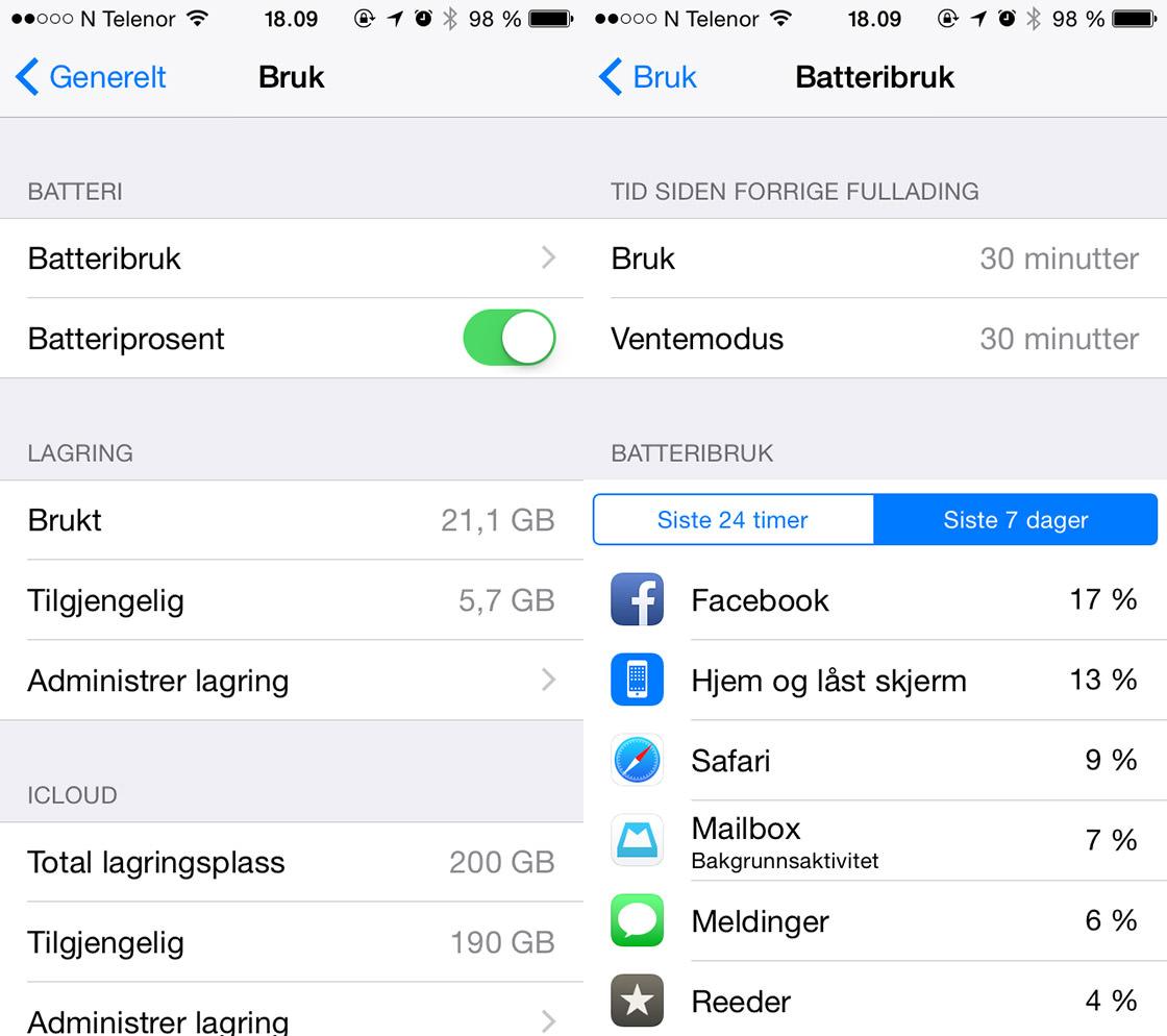 iOS 8: Batteribruk